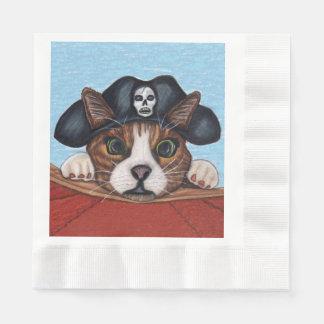Serviette En Papier Chat rayé étonné mignon de Brown de pirate