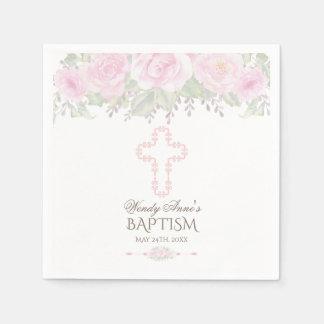 Serviette En Papier Chic rougissent le baptême floral de fille de
