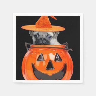 Serviette En Papier Chien de carlin de Halloween
