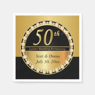 Serviette En Papier cinquantième Anniversaire de mariage d'or