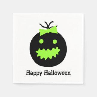 Serviette En Papier Citrouille mignon de Halloween avec l'arc