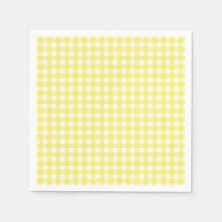 Serviette En Papier Conception jaune et blanche de guingan