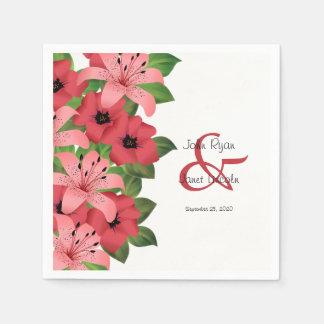 Serviette En Papier Conception rose de mariage de fleur de canneberge