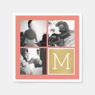 Serviette En Papier Créez votre propre monogramme de collage de photo