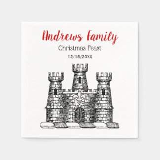 Serviette En Papier Crête héraldique C d'emblème de château de Noël de