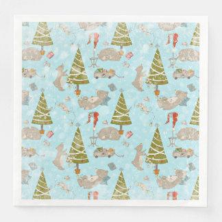 Serviette En Papier Des ours et du motif de Noël-Noël pour des enfants