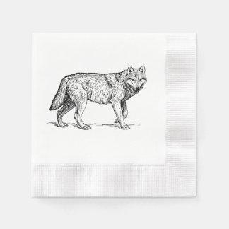 Serviette En Papier Dessin élégant d'encre de loup gris