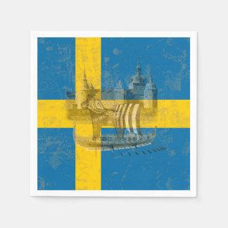 Serviette En Papier Drapeau et symboles de la Suède ID159