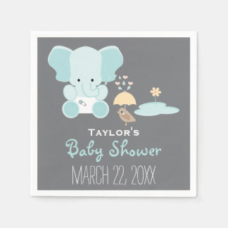 Serviette En Papier Éléphant bleu peu dans le baby shower d'oiseau de