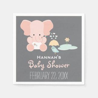 Serviette En Papier Éléphant rose peu dans le baby shower d'oiseau de