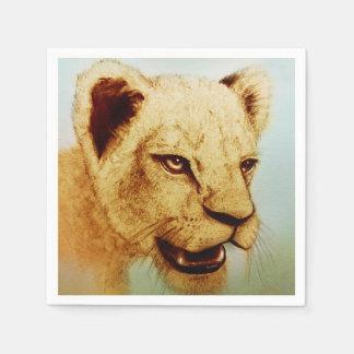 Serviette En Papier Ensemble illustré coloré de serviettes - lion