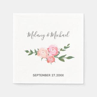 Serviette En Papier épouser de floraison de roses d'aquarelle
