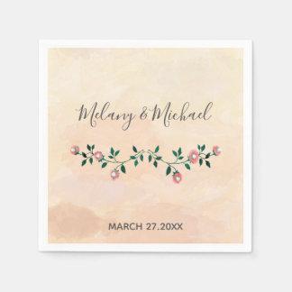 Serviette En Papier Épouser de floraison de roses d'aquarelle moderne