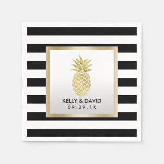 Serviette En Papier Épouser moderne de rayures d'ananas tropical d'or
