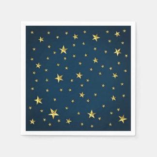 Serviette En Papier Étoiles d'or de bleu marine personnalisées