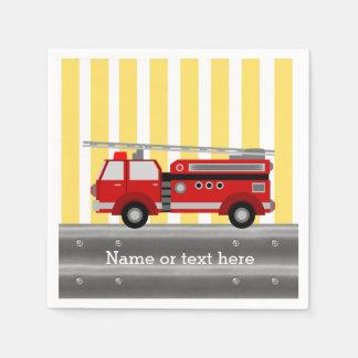 Serviette En Papier Fête d'anniversaire de camion de pompiers