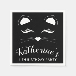 Serviette En Papier Fête d'anniversaire noire et blanche de chat