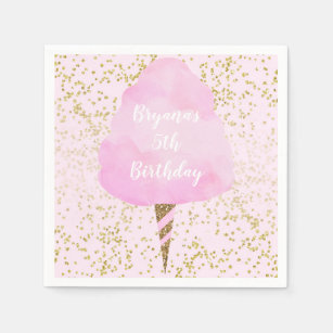 Serviette En Papier Fête d'anniversaire rose de confettis de sucrerie