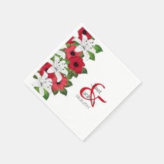 Serviette En Papier Fleurs florales rouges de canneberge