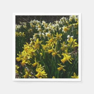 Serviette En Papier Fleurs jaunes et blanches de ressort de jonquilles