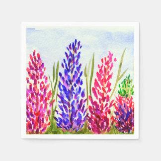 Serviette En Papier Fleurs sauvages de loup d'art floral d'aquarelle