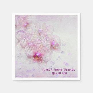 Serviette En Papier fleurs tropicales d'orchidée avec des bulles