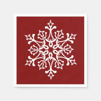 Serviette En Papier Flocon de neige élégant blanc sur le rouge