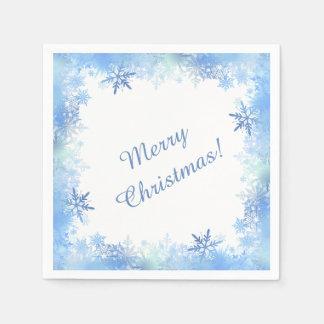Serviette En Papier Flocons de neige bleus