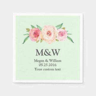 Serviette En Papier Floral rougissent la serviette verte rose de