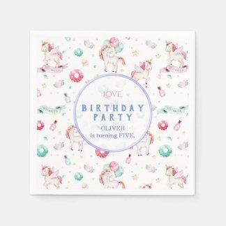 Serviette En Papier Garçon magique de fête d'anniversaire de licornes
