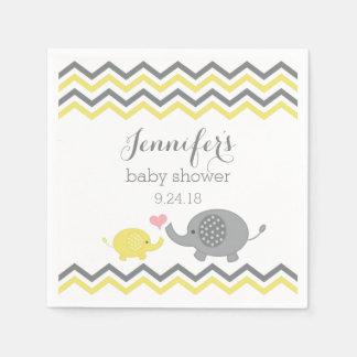 Serviette En Papier Gris Chevron de jaune de serviettes de baby shower