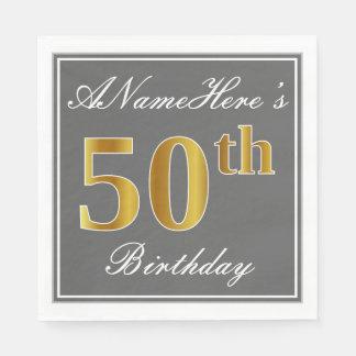 Serviette En Papier Gris élégant, anniversaire d'or de Faux
