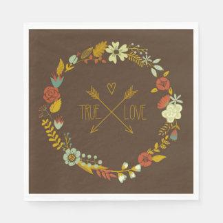 Serviette En Papier Guirlande florale de véritable amour sur les