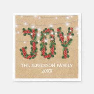 Serviette En Papier Guirlande rustique de vacances de Noël de joie