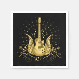 Serviette En Papier Guitare à ailes d'or