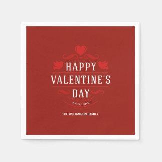 Serviette En Papier Heureuse Sainte-Valentin personnalisée par rouge