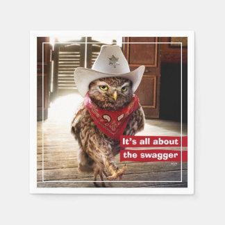 Serviette En Papier Hibou occidental dur de shérif avec l'attitude et