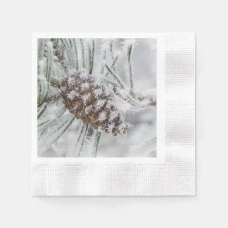 Serviette En Papier Hiver, Pinecone, flocons de neige