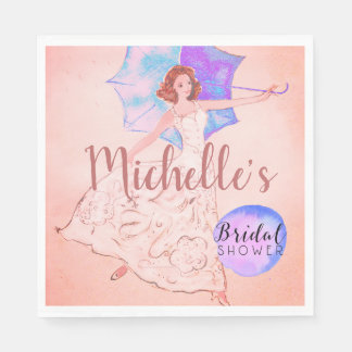 Serviette En Papier Illustration nuptiale rose chaude de jeune mariée