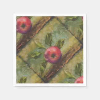 Serviette En Papier Illustrations originales peignant la pomme rouge