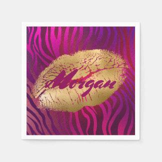 Serviette En Papier Jolie copie fuchsia de rouge à lèvres d'or de