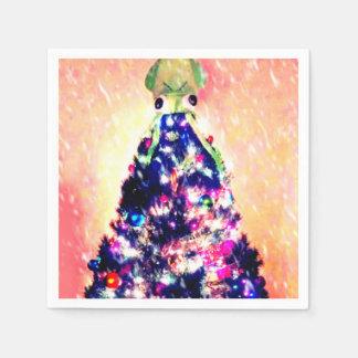 Serviette En Papier Joyeuse serviette de papier d'arbre de Noël du