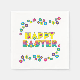 Serviette En Papier Joyeuses Pâques colorées mignonnes arrosées avec
