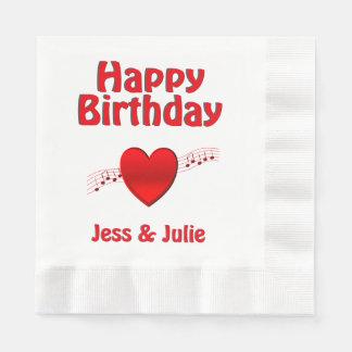 Serviette En Papier Joyeux anniversaire de coeur et de musique