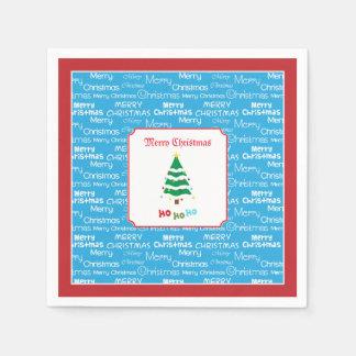 Serviette En Papier Joyeux Noël et arbre de Noël