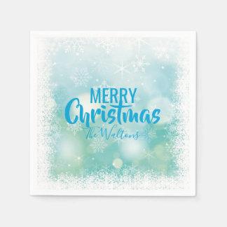 Serviette En Papier Joyeux Noël personnalisé de flocons de neige