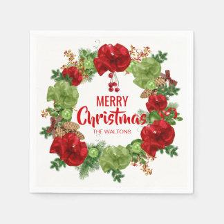 Serviette En Papier Joyeux Noël personnalisé de guirlande blanche