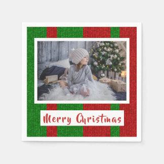 Serviette En Papier Joyeux Noël sur tricoter la photo rouge et verte