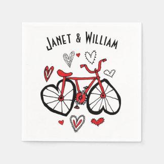 Serviette En Papier La bicyclette de coeurs de Valentine ajoutent des