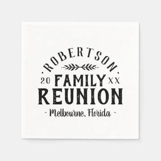 Serviette En Papier La Réunion de famille personnalisée rustique